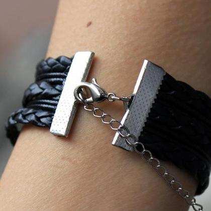 Mockingjay pin bracelet,Black,leath..