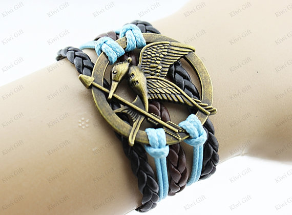 Mockingjay pin bracelet,Brown,leather bracelet,Hunger games bracelet,hipster jewelry,Fashion charm bracelet,Braided Bracelet,catching fire bracelet