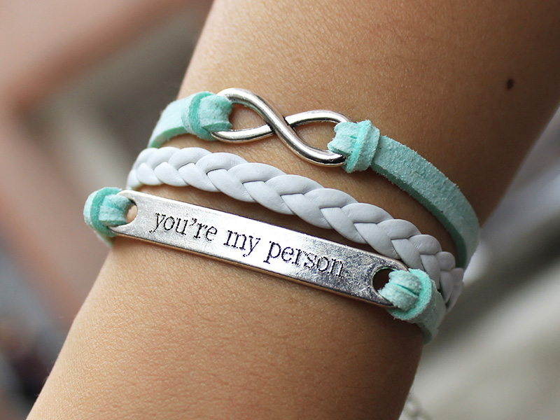 You Are My Person Bracelet Mint Green Infinity Engrave Custom