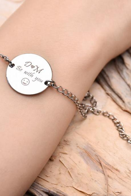 Smiling bracelet,couples bracelet,engrave bracelet,custom engrave bracelet,personalized bracelet,Just for you bracelet,Christmas Gift