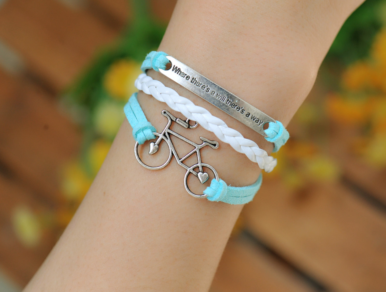 Bracelet Bike Retro Silver Love Alloy Blue Leather Braid Engraved Where There Is A Will Way